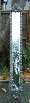 Narrow Silver Mirror with Flowers